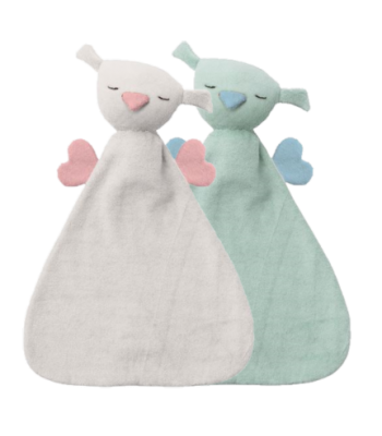 Doudou Hoppa Hugo in cotone bio certificato. Colore verde menta/azzurro e bianco/rosa.