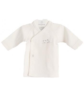 Maglietta kimono Birds bianca per prematuro