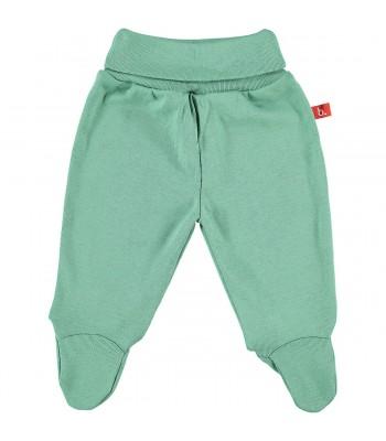 Pantaloni con piedini verde muschio per prematuro