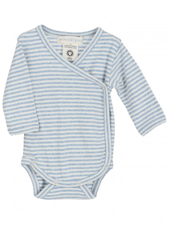 Body maniche lunghe a righe azzurro / panna per prematuro