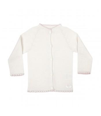 Cardigan in lana merino per prematuro rosa (Fronte)