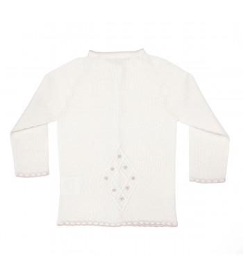 Cardigan in lana merino per prematuro rosa (Retro)
