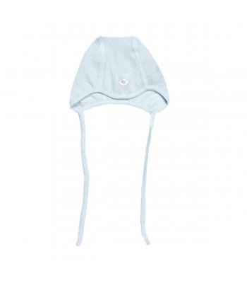 Cappellino con laccetto in lana merino azzurro per prematuro