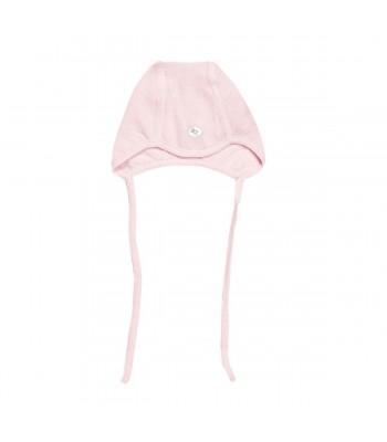 Cappellino con laccetto in lana merino rosa per prematura