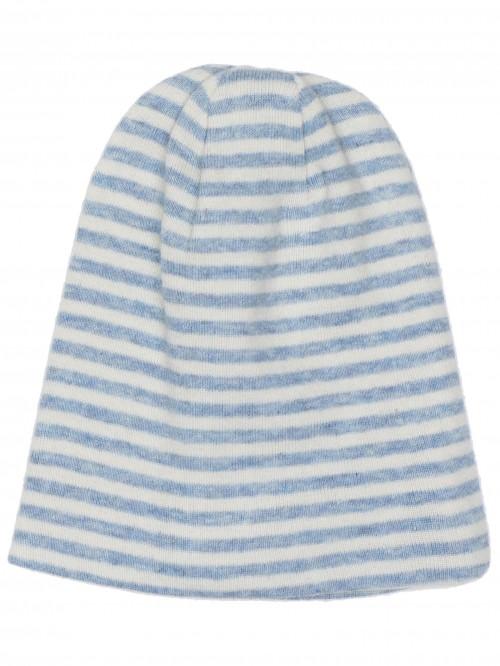 Cappellino a righe azzurro/panna