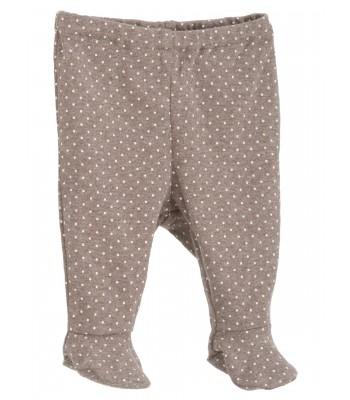 Pantaloni con piedini cioccolato a pois per prematuro