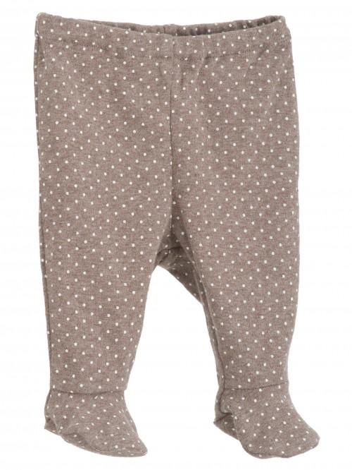 Pantaloni con piedini cioccolato a pois