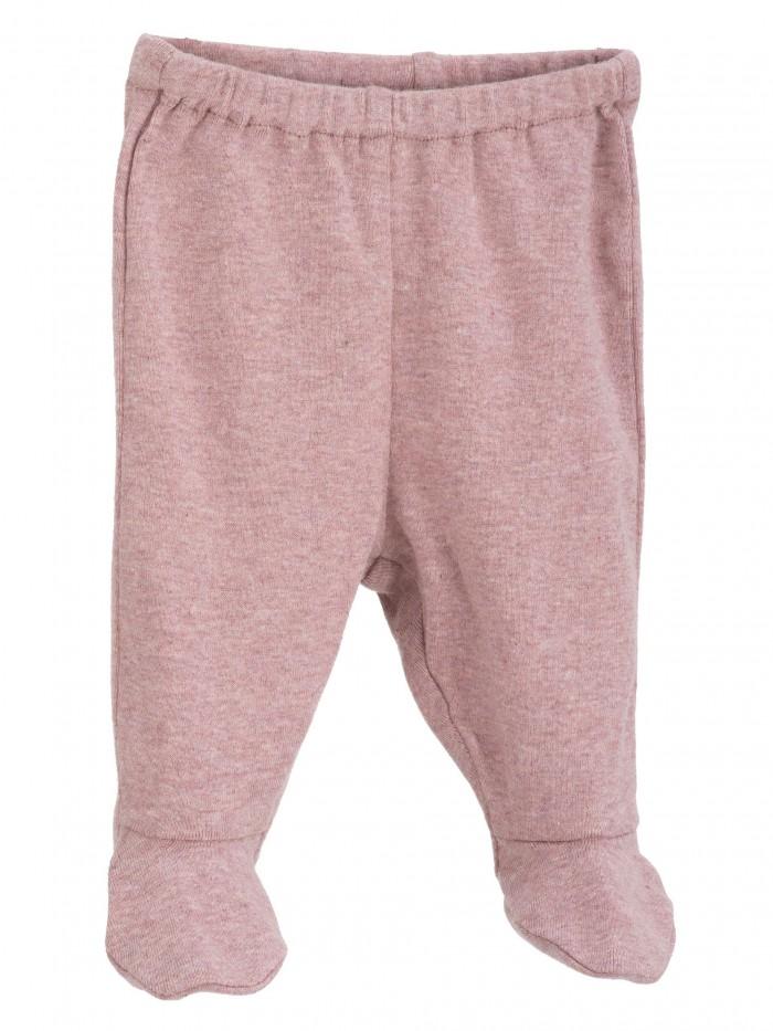 Pantaloni con piedini rosa melange per prematuro