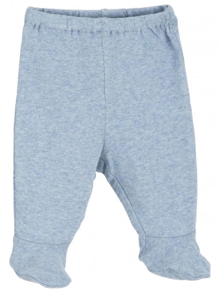 Pantaloni con piedini azzurro melange per prematuro