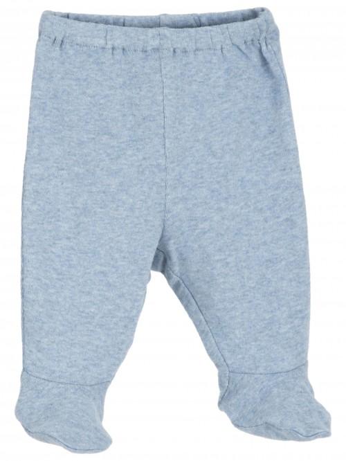Pantaloni con piedini azzurro melange
