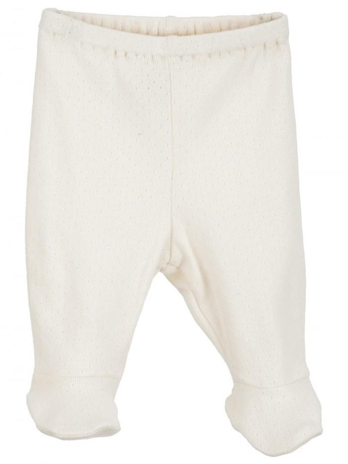 Pantaloni con piedini ricamato panna per prematuro