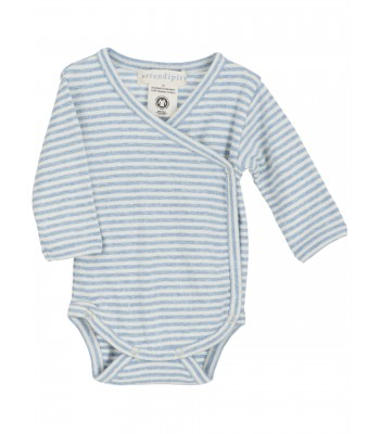 Body maniche lunghe righe azzurro/panna per prematuro