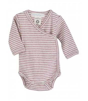 Body maniche lunghe righe rosa/panna per prematuro