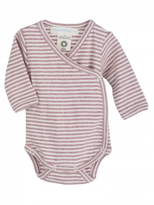 Body maniche lunghe a righe rosa/panna