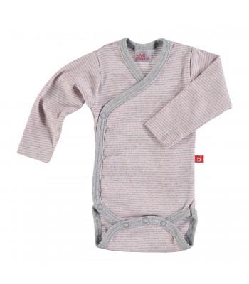 Body maniche lunghe righe rosa/grigio per prematuro
