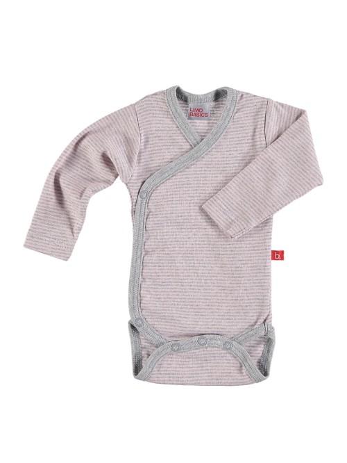 Body maniche lunghe a righe rosa/grigio
