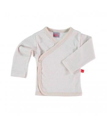 Maglietta kimono a righe bianco/sabbia per prematuro
