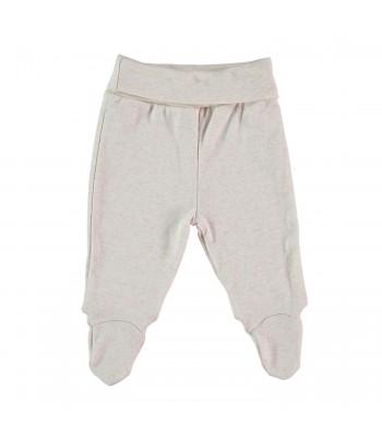 Pantaloni con piedini sabbia melange per prematuro