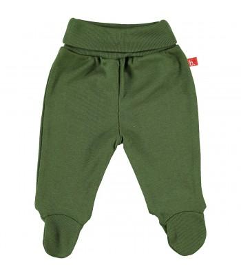 Pantaloni con piedini verde oliva per prematuro