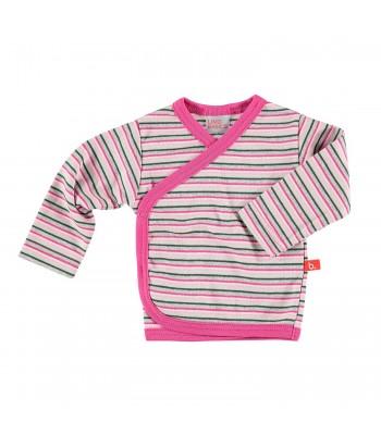 Maglietta kimono a righe multicolore rosa per prematura