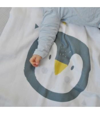 Telo di mussola pinguino in morbido cotone bio certificato (GOTS).