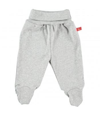 Pantaloni con piedini grigio melange per prematuro