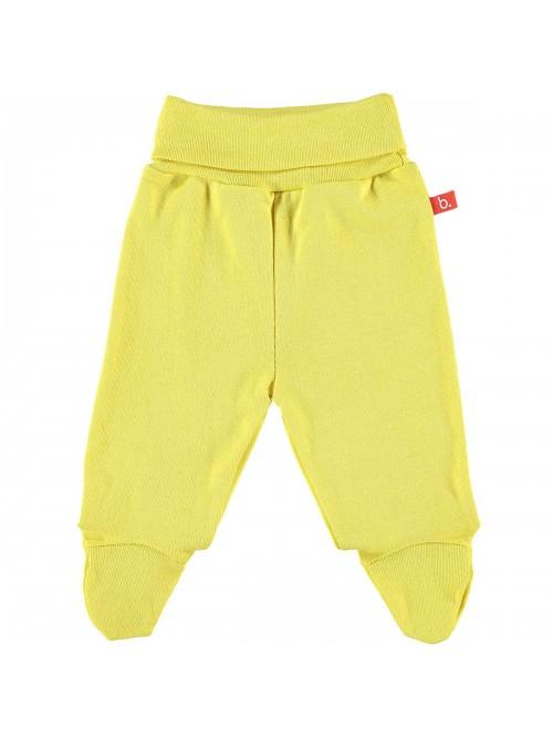 Pantaloni con piedini giallo mostarda