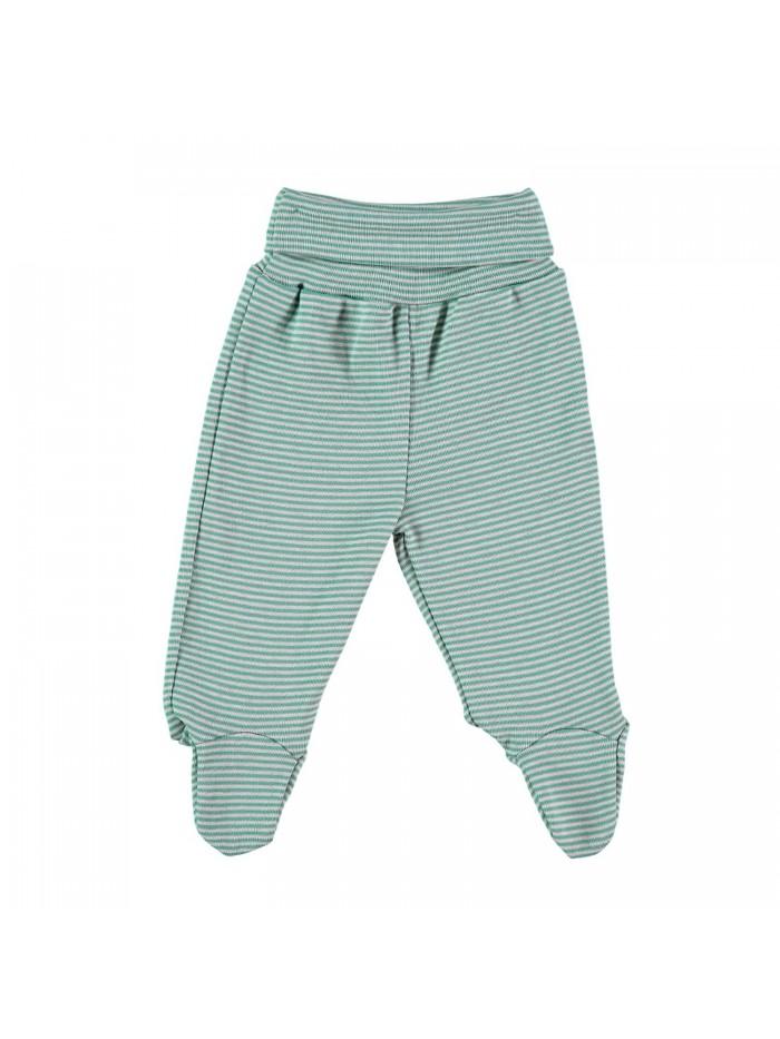 Pantaloni con piedini a righe verde per prematuro