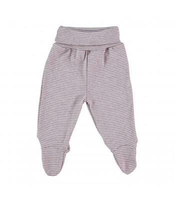 Pantaloni con piedini a righe rosa/grigio per prematura