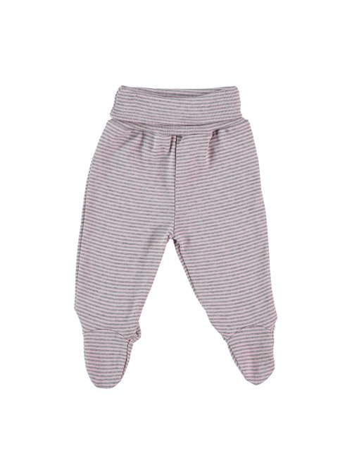 Pantaloni con piedini a righe rosa/grigio