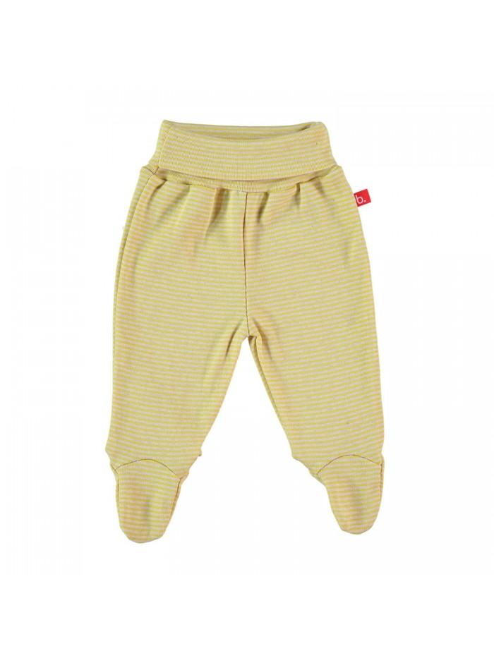 Pantaloni con piedini a righe mostarda per prematuro