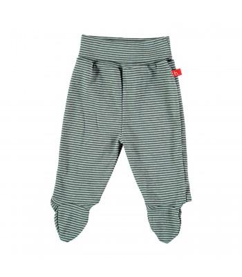 Pantaloni con piedini a righe grigio per prematuro