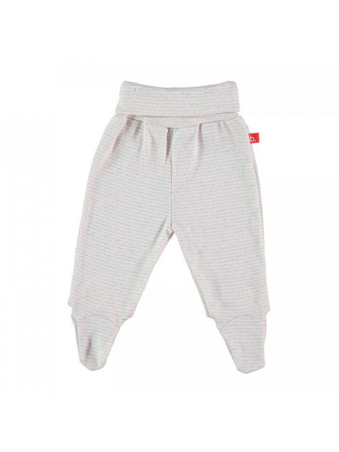 Pantaloni con piedini a righe bianco/sabbia per prematuro