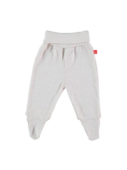 Pantaloni con piedini a righe bianco/sabbia
