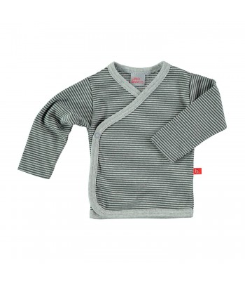 Maglietta kimono a righe grigio per prematuro