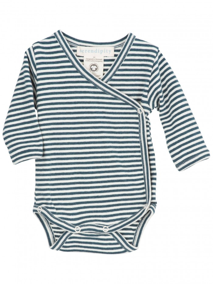 Body maniche lunghe righe blu atlantic/panna per prematuro