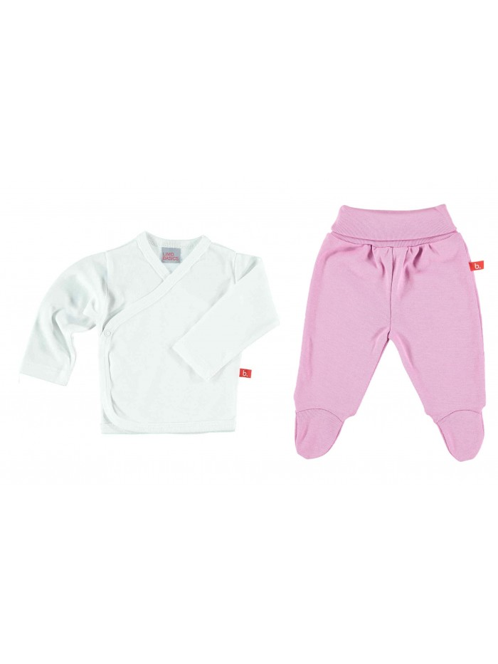 Set maglietta e pantaloni bianco/rosa per prematura