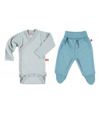 Set body e pantaloni grigio/denim per prematuro