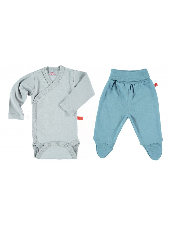 Set body e pantaloni grigio/denim per prematuro