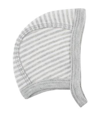 Cappellino bianco/grigio cotone bio per prematuri. Spedizione Gratis!