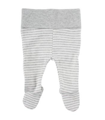 Pantaloni con piedini a righe bianco / grigio per prematuro (Fronte)