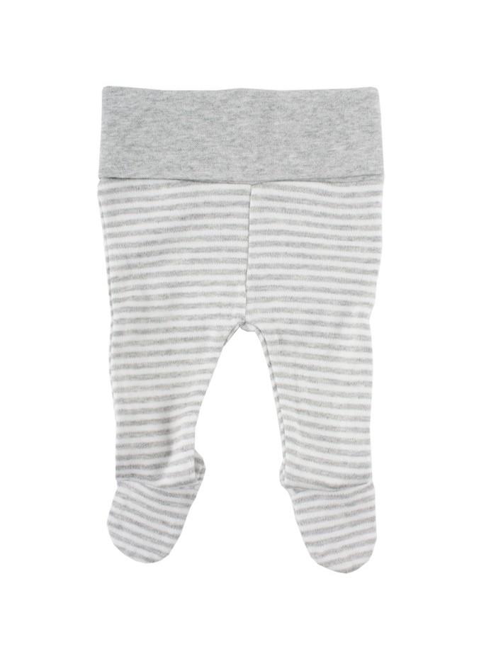 Pantaloni con piedini a righe bianco / grigio per prematuro