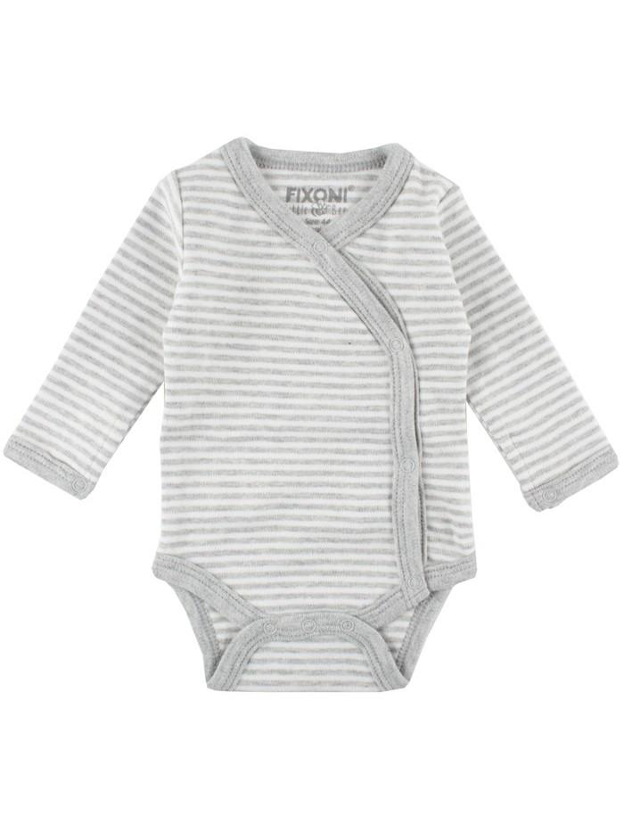 Body maniche lunghe righe bianco/grigio per prematuro (Fronte)