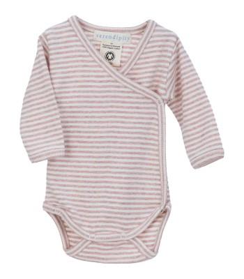 Body maniche lunghe a righe rosa cipria/panna per prematura